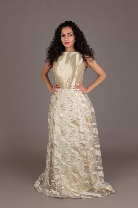 Eliss cream and gold evening dress (XS-S)