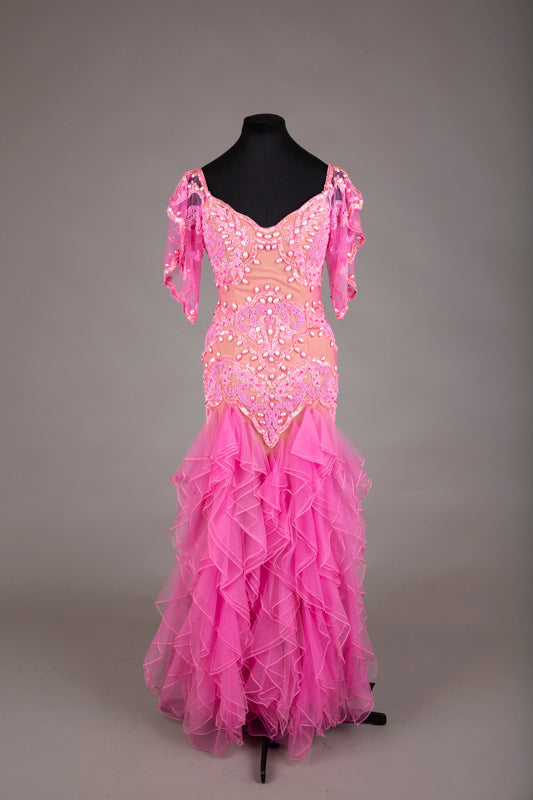 Pink Beaded Ruffle Evening Dress