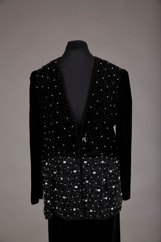 Black Velvet Beaded Skirt Suit
