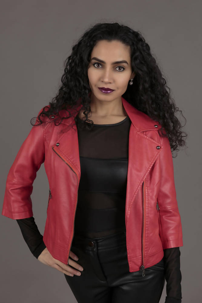 Funk Coral Faux Leather Jacket
