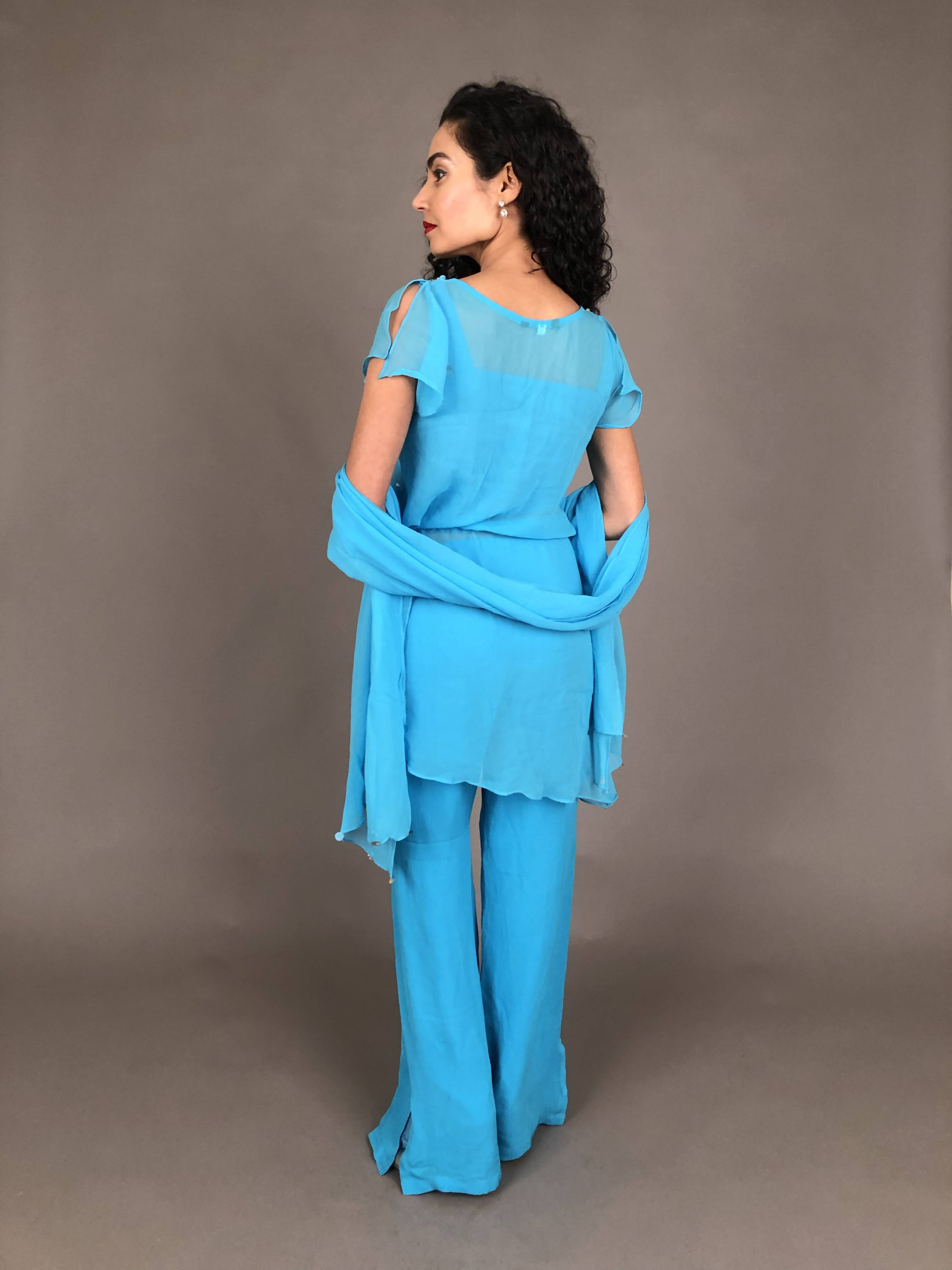 3-Piece Turquoise Eastern Pantsuit
