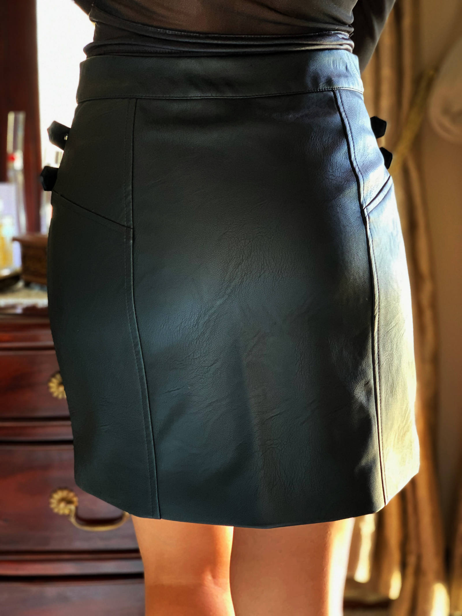 Topshop Black Faux Leather Miniskirt