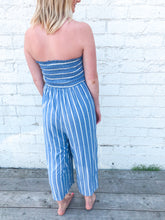 Smocked Striped Jumpsuit | Light Denim