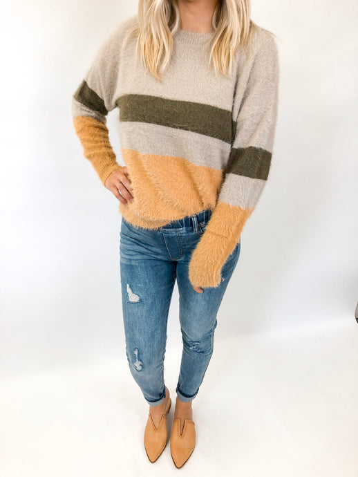 Striped Feathered Sweater