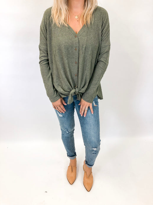 Waffle Button Down Top | Olive