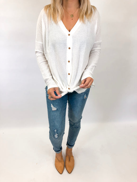 Waffle Button Down Top | Ivory