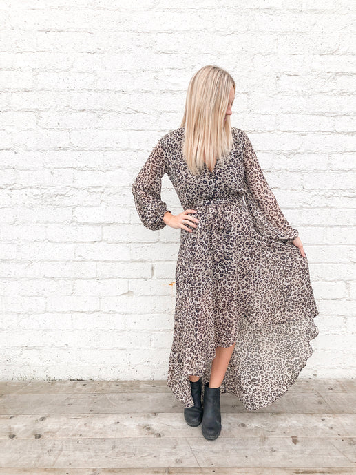 Leopard Wrap Dress | Taupe/Brown