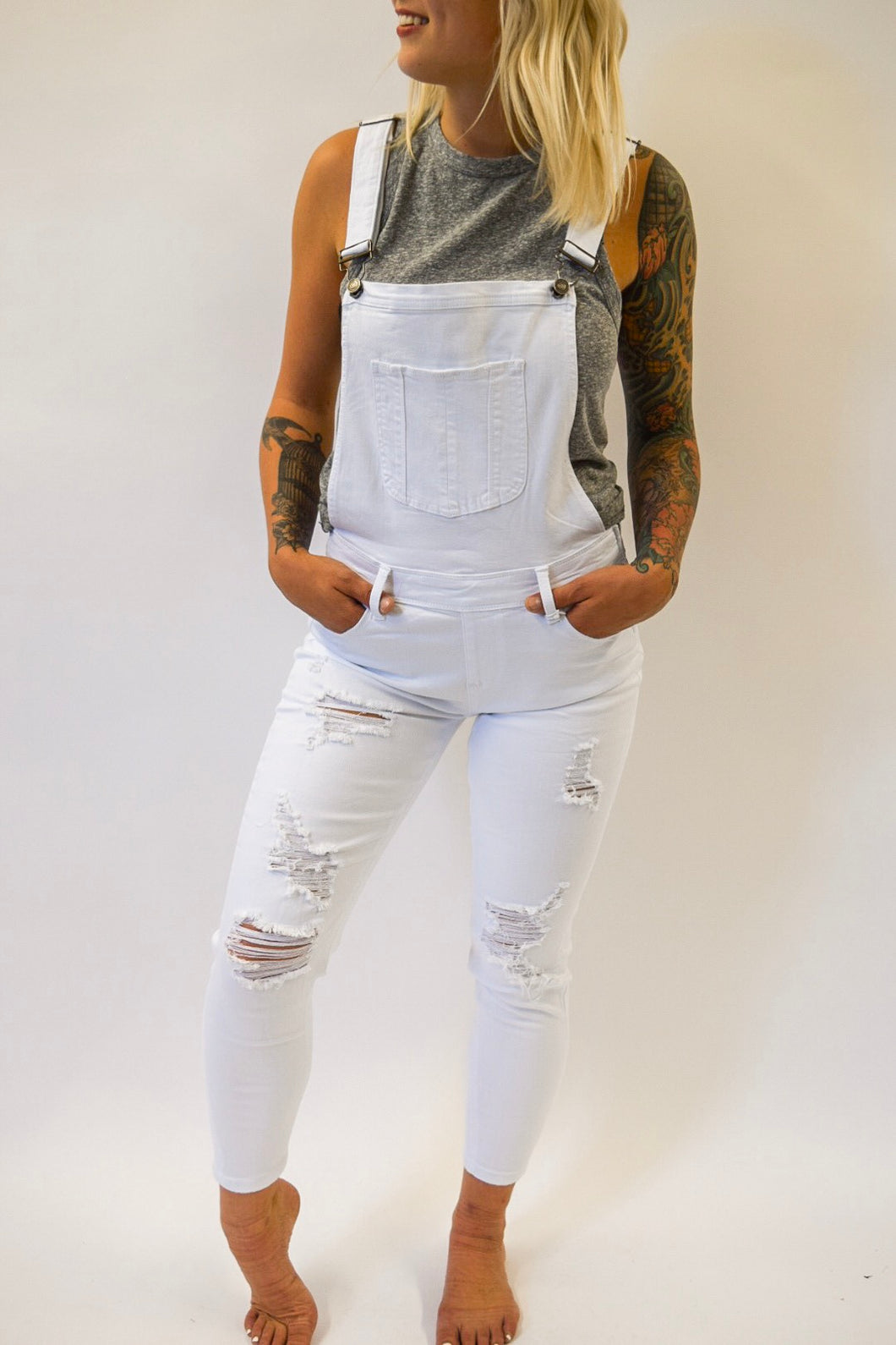 Distressed Overall | White