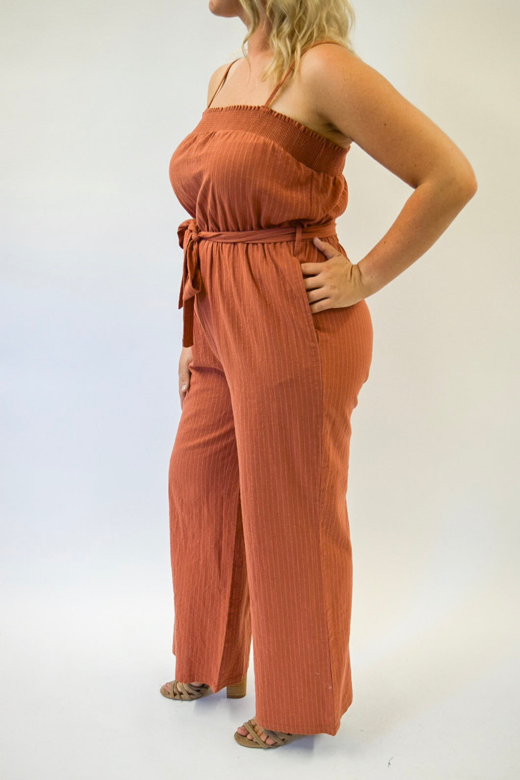 Smocked Stripe Jumpsuit | Rust