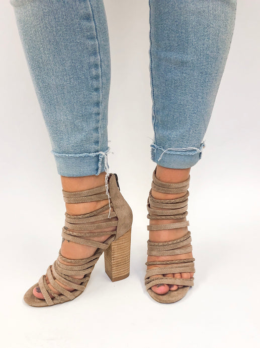 Friday Strappy Suede Heels | Taupe