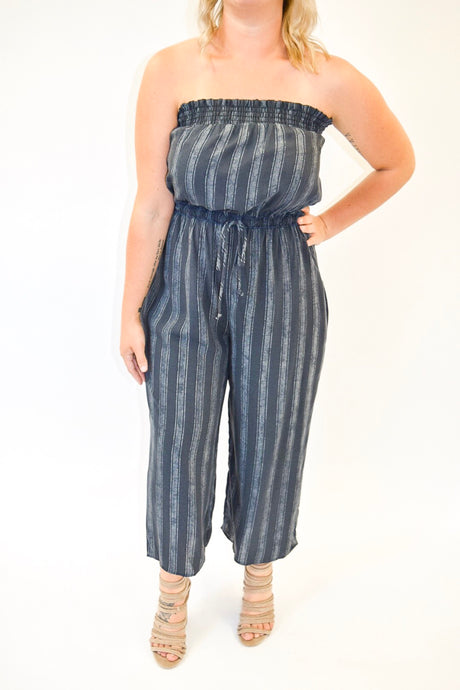 Striped Jumpsuit | Charcoal