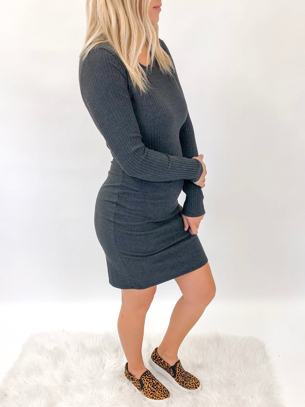 Julie Ribbed Fitted Dress | Charcoal
