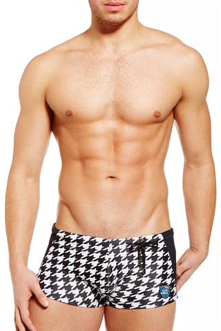 Midnight swimwear square-cut Houndstooth +Black