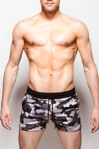 Strike Force Sport Shorts Grey Camo+Black