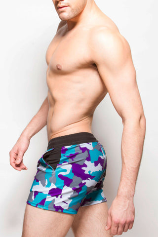 Strike Force Sport Shorts Aqua Camo+Black