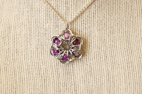 Sugalite Maille Flower Pendant