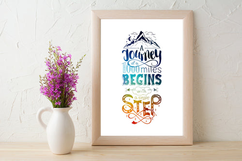 A Journey of 1000 Miles Begins With A Single Step Quote 8x10 Print