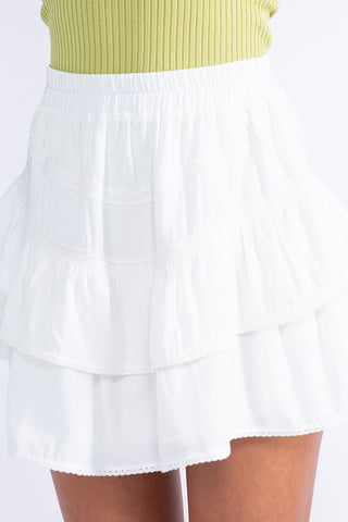 Two Tiered Ruffle Skirt W/ Elastic Band
