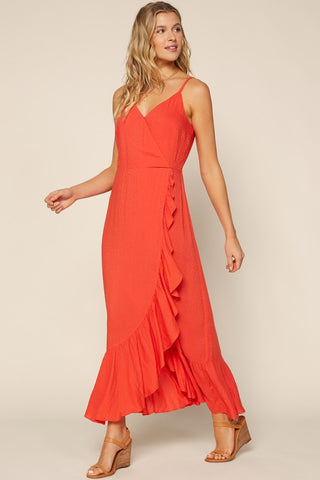 Ruffle Detail Sleeveless Maxi Dress