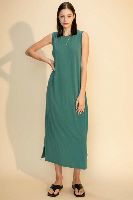 Crew Neck Dress W/ Side Slits - Teal