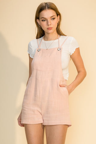 Self Tie Linen Romper W/ Pockets - Dusty Pink