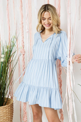 Striped Peasant Top 3/4 Sleeve Tiered Dress