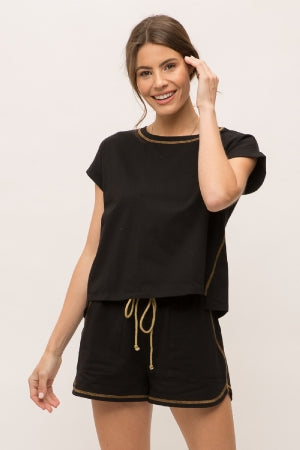 Rolled up short sleeve side stitched crop top