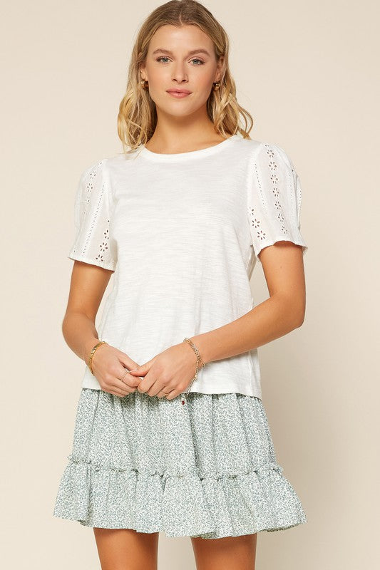 Embroidered Sleeve Jersey Top