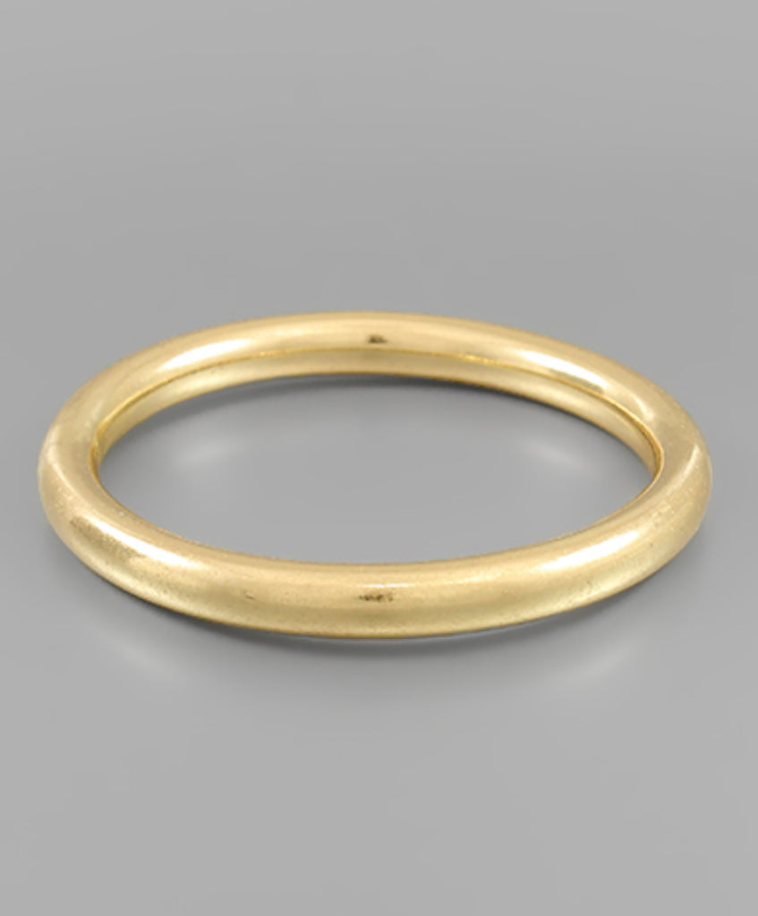 8mm Tube Metal Bangle - Worn Gold