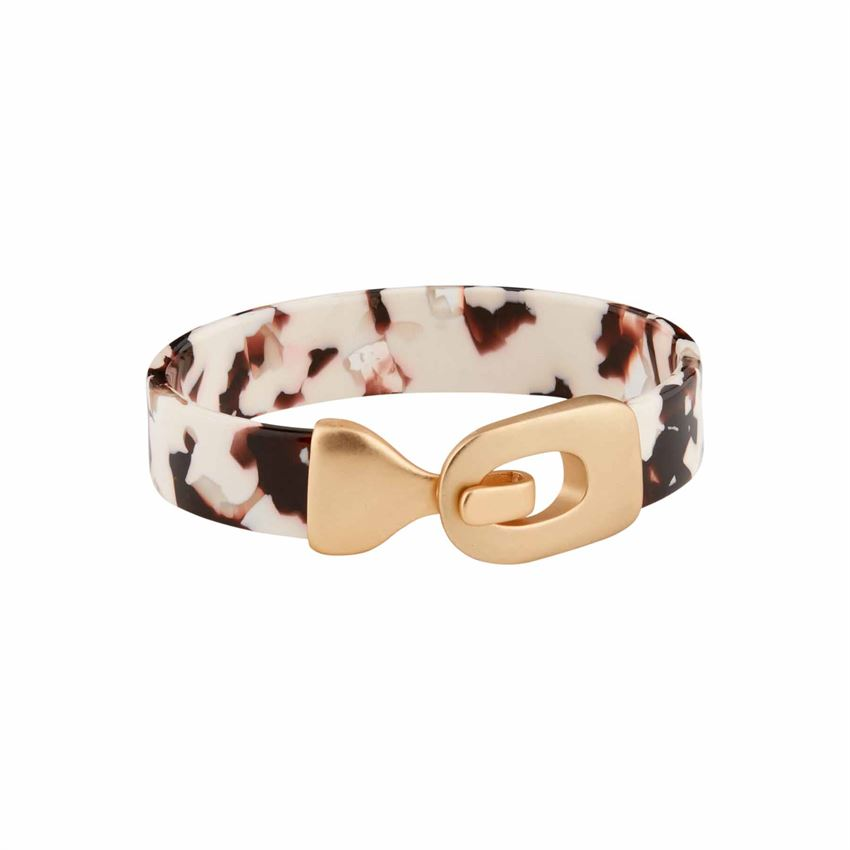 Resin Buckle Tan Cuff Bracelet