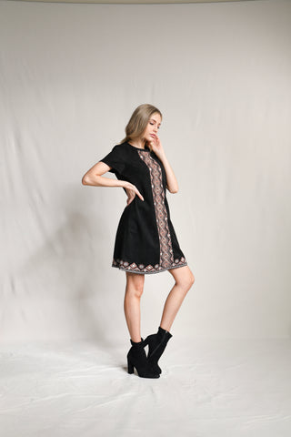 Embroidered Faux Suede Dress