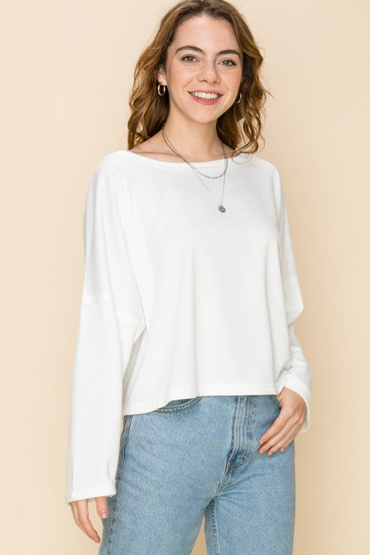 Cut Out Twist Back French Terry Top