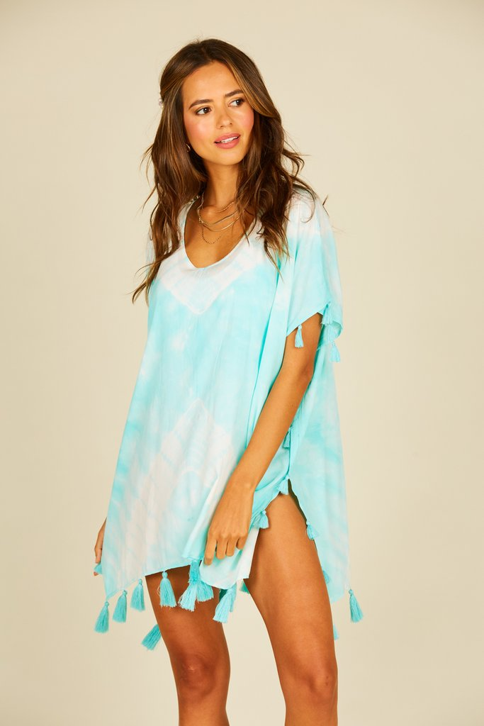 Mint Tie Dye Cover Up with Tassels