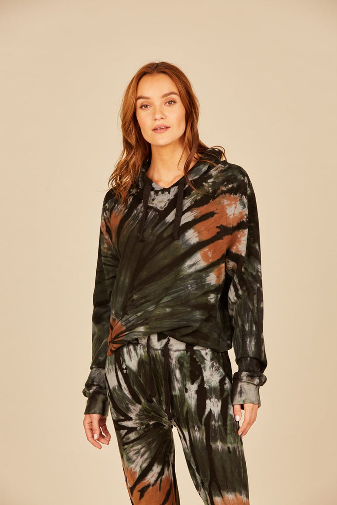 Black Forest Tie Dye Drapy Modal Basic Hoodie