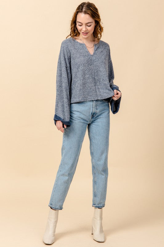 Notch Neck Rolled Cuff Top - French Blue