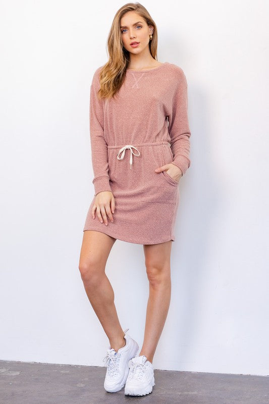 Casual Solid Long Sleeve Mini Dress