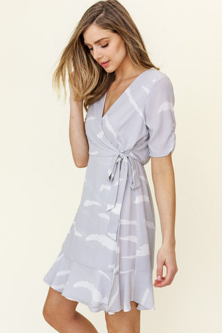Short Sleeve Surplice Abstract Dress