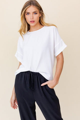 Short Roll Up Sleeve Top