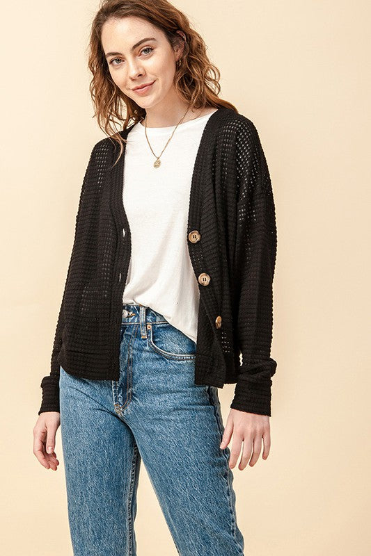 Button Front Oversized Cardigan