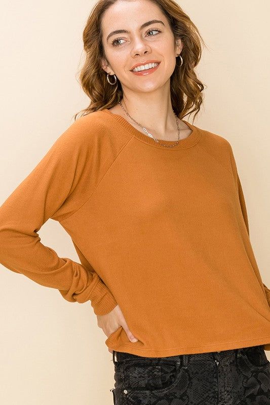 Bateau Neck Raglan Long Sleeve Top - Cinnamon