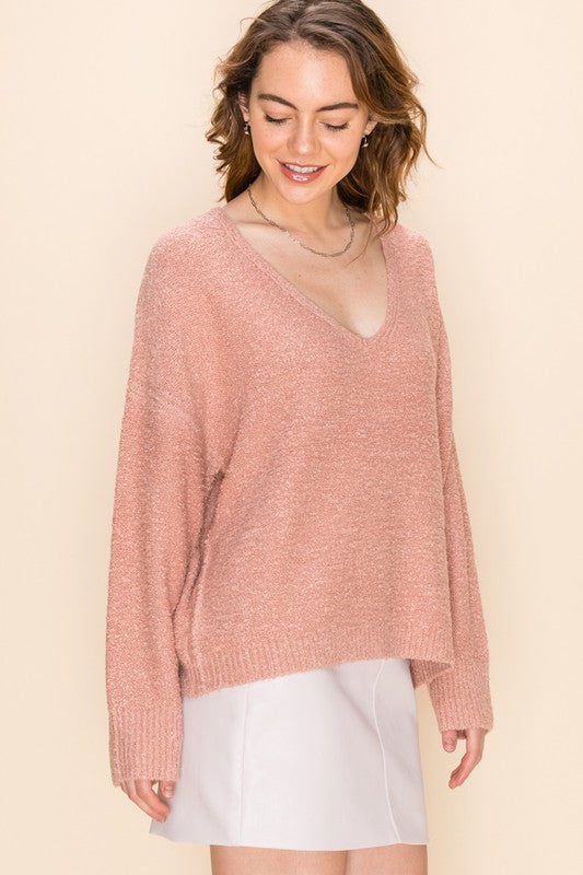 Textured V-Neck Long Sleeve Sweater - Misty Rose