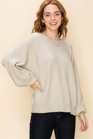 Crew Neck Balloon Sleeve Oversized Sweater - Alpaca