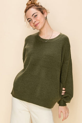 Crew Neck Balloon Sleeve Oversized Sweater - Olive
