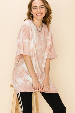 Tie Dye Distressed Oversized T Shirt - Misty Rose