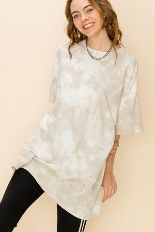 Tie Dye Distressed Oversized T Shirt - Moth Gray