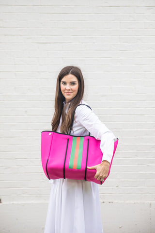 Pink and Red/Green Stripe Neoprene Tote (Exclusive to Parker and Hyde)