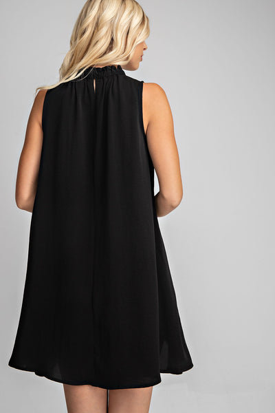 High Neck Swing Dress - Black