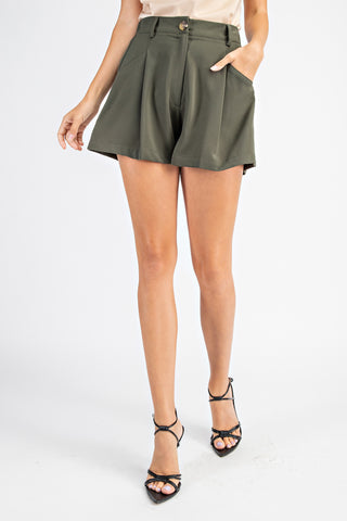 Pleated High Waist Shorts - Olive(A)