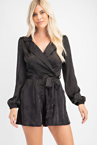 Long Sleeve Romper W/ Tie Detail