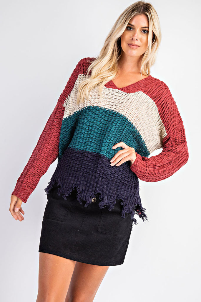 Color Block Sweater - Mauve